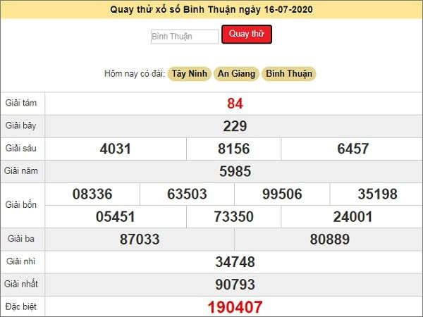 Quay thử xổ số Bình Thuận ngày 16 tháng 7 năm 2020