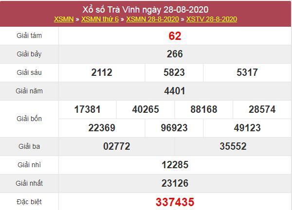 Soi cầu XSTV 4/9/2020 chốt lô số đẹp Trà Vinh thứ 6